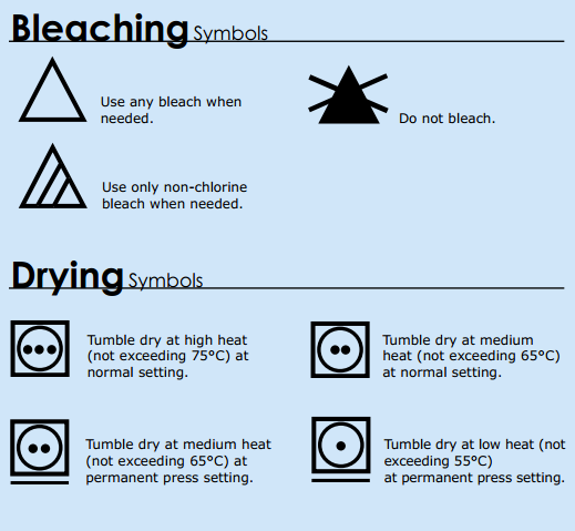 Garment Care Symbols – Bleaching & Drying